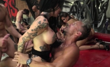 Lusty Sluts Engaged In Gangbang Action With 17 Wannabe Studs