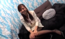 Asian girl in sexy stockings giving blowjob for 2 guys