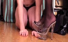 Nylon Ladies Trample Slaves Hands