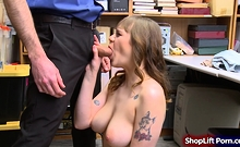 Busty brunette shoplifter sucks and fucked by store security