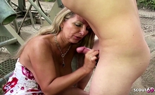 Stranger caught GERMAN MILF Outdoor and talk her to Fuck