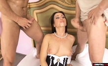 Pleasing Her Master And His Friend With Both Her Holes