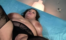 Plumper with gigantic tits has her hairy pussy stuffed