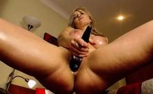 naughty blonde babe masturbates