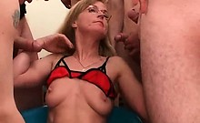 Hot and nasty blonde mature slut with sexy lingerie sucks