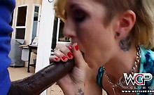 Maia loves wrapping her lips around a big black cock before