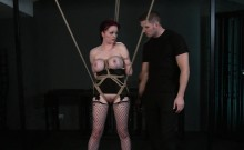 Tied up redhead pussy toyed